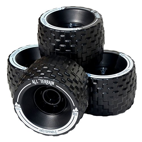 MBS 13401 - Black All-Terrain Longboard Wheels - 100mm X 65mm - Black