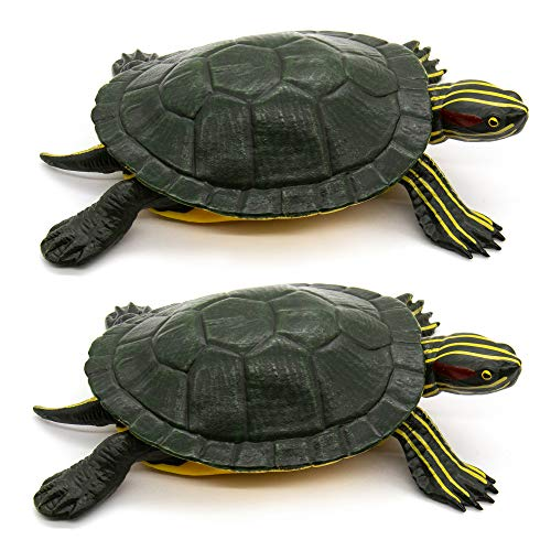 AUEAR, Set of 2 Brazilian Turtle Toy Plastic Turtles Red-Eared Slider Turtle Toy Aquarium Decorations for Boys and Girls Toy