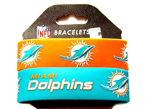 NFL Miami Dolphins Silicone Rubber Bracelet, 2-pack
