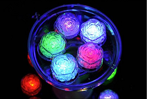 URTop 12Pcs Water Sensor Multi Colors Changing Blinking Flashing Rose Flower Shape Led Ice Cubes Event Party LED Luminous For Wedding Club Bar Drink KTV Decoration
