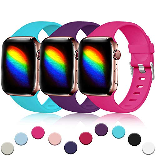 Haveda Sport Compatible for Apple Watch Series 4 Series 5 40mm Band, Soft for Apple watch series 3 38mm band, iwatch bands 38mm Womens, Cute Accessories Men, 3Pack Teal/Purple/Rose 38mm/40mm M/L