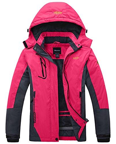 Wantdo Women's Waterproof Mountain Jacket Fleece Windproof Ski Jacket , Large, Rose Red