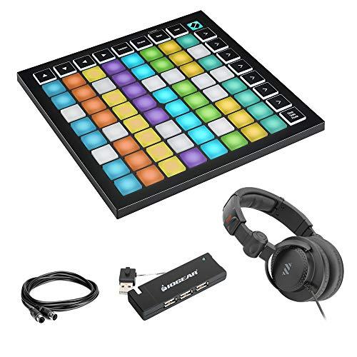 Novation Launchpad Mini MK3 64-Pad MIDI Grid Controller Bundle with 4-Port USB Hub, Studio Headphones & MIDI Cable