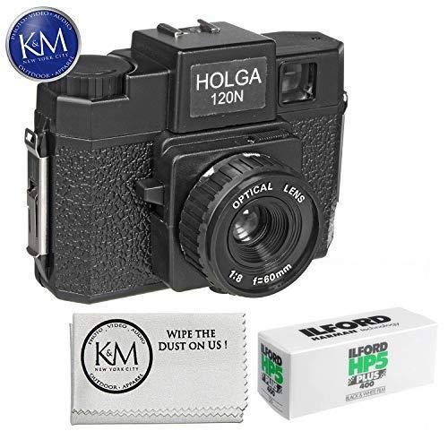 Holga 120N Medium Format Film Camera (Black) with Ilford HP5 Plus Black and White Negative Film – 120mm Single Roll