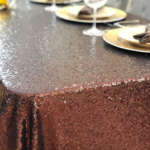 Glitter Tablecloth Party Table Cloth - 90 x 156 Premium Colored Moroccan Copper, Chocolate  Sequin Table Cloth for Parties - Manteles de Mesa de Tela Para Fiesta