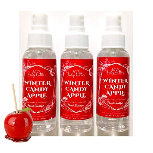 Winter Candy Apple Hand Sanitizer with Alcohol, Holiday Gift (2 fl oz, 3 pack)