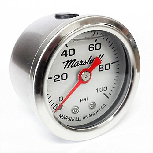 Marshall Instruments LS00100 Silver Dial Fuel Pressure Gauge