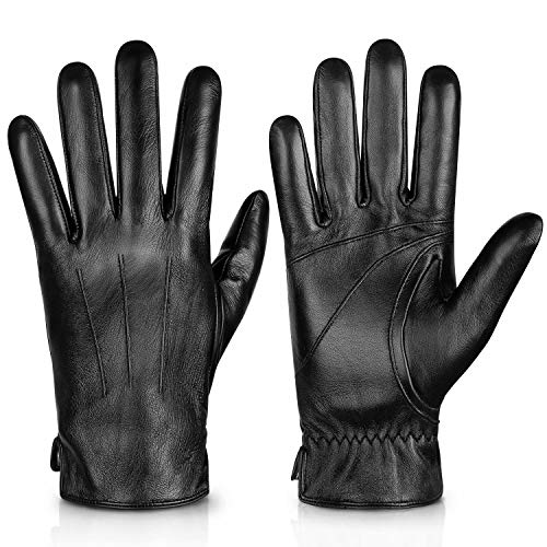 Genuine Sheepskin Leather Gloves For Men, Winter Warm Touchscreen Texting Cashmere Lined Driving Motorcycle Gloves By Alepo(Black-M)