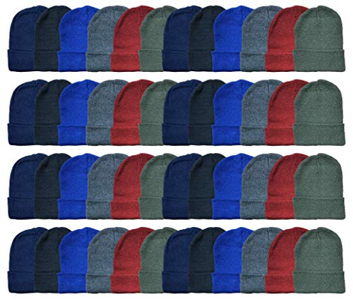 Yacht & Smith 48 Pack Wholesale Bulk Winter Thermal Beanies Skull Caps, Thermal Gloves Unisex (Assorted Kids Beanie A)
