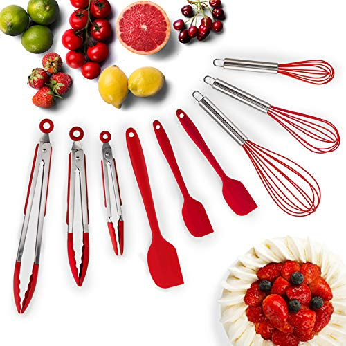 HOT TARGET Set of 9-3 Heavy Duty, Non-Stick, Silicone Tongs (12, 9, 7 inches) Plus 3 Silicone Whisks (11,10,8 inches) and 3 Silicone Spatulas (11,8,8 inches) (Red)
