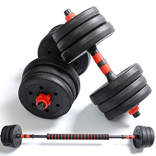 Professional Adjustable Weights Dumbbells Set, Free Weights Dumbbells with Connecting Rod Used As Barbell, Strength Building, Weight Loss, Suitable for Home and Training Studio