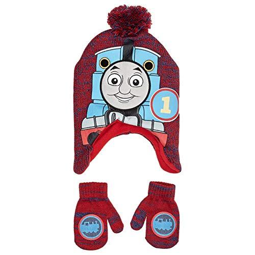 Thomas The Tank Engine Train Premium Peruvian Beanie Winter Hat & Mittens Set Red