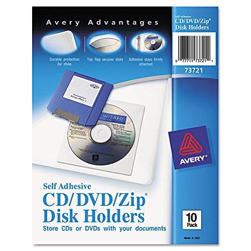 Avery 73721 Media Pockets, CD/DVD, Adhesive, Vinyl, 10/PK, Clear