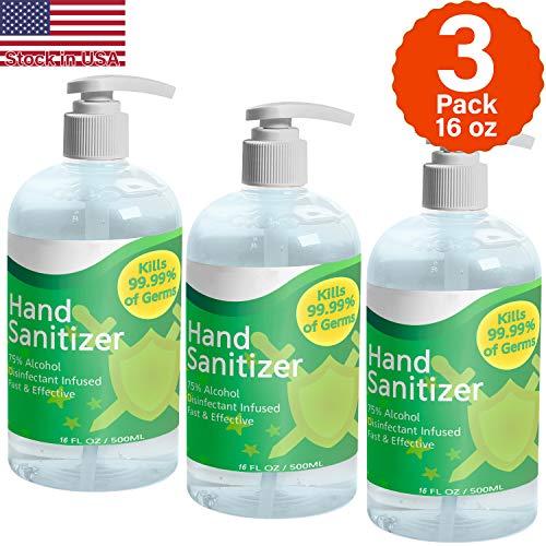 COOLINKO Hand Sanitizer Gel with Pump - 1500mL - 3 Pack 16oz 500ml Total 48 fl oz