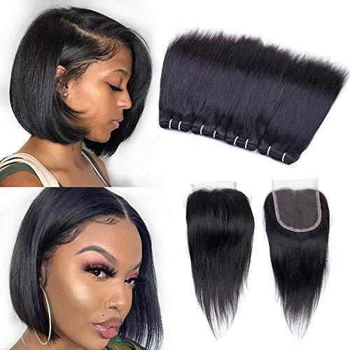 Peruvian Straight Human Hair Bundles with Closure(8' 8' 8' 8'+8'closure) Straight Hair 4 Bundles with Closure 50g/pcs Unprocessed 10A Virgin Human Hair Bundles and Closure 5 Bundle Deals