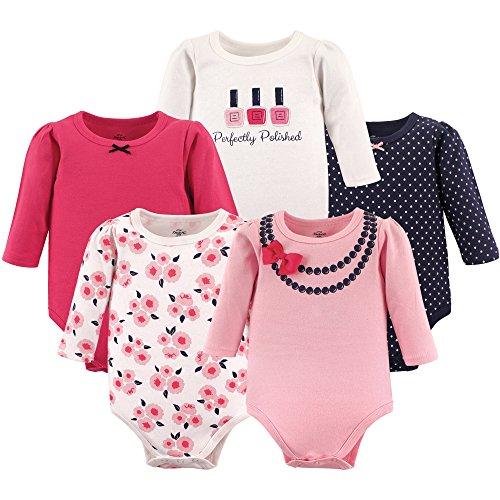 Little Treasure Unisex Baby Cotton Bodysuits, Bow Necklace Long-Sleeve, 12-18 Months