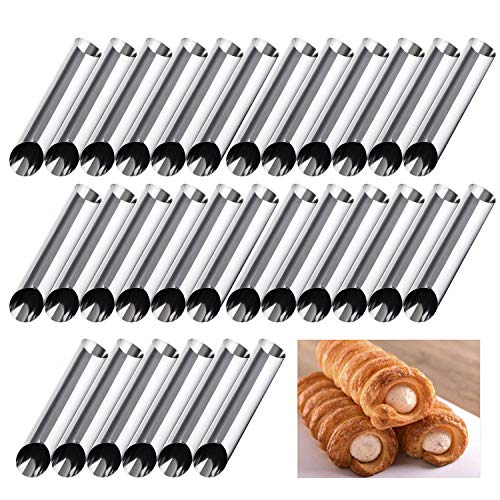 RoseFlower 30PCS Stainless Steel Screw Croissant Mold, Conical Tube Cone Roll Moulds Spiral Pastry Cream Horn Cake Bread Mold for Cannoli Tubes Croissant Baking#5