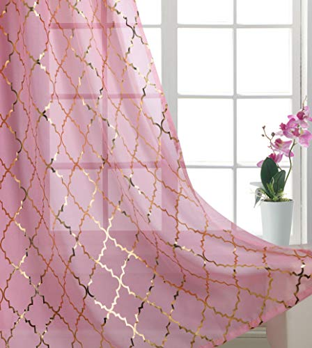Foxtile Pink Gold Curtains for Bedroom Sheer Panles with Glitter Gold Moroccan Tile Eylet/Rings Top Transparent and Thin Nice Drapes for Bedroom 63 inch Long 2 Pieces