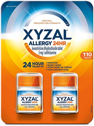 Xyzal Allergy Pills, 24-Hour Allergy Relief, Original Prescription Strength, 2 Bottles of 55 Tablets Each, 110-Count