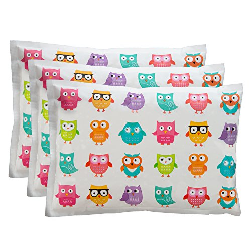 Bentology Kids Ice Packs for Lunch Boxes - 3 Reusable Packs Keeps Food Cold in Lunchboxes & Coolers - Non-Toxic, Safe, Durable - Owls