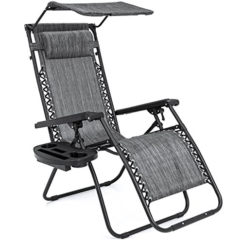 Best Choice Products Folding Steel Mesh Zero Gravity Recliner Lounge Chair w/Adjustable Canopy Shade and Cup Holder Accessory Tray, Gray