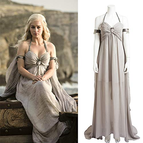 Rubyonly Cosplay Daenerys Targaryen Costume A Song of Ice and Fire Game of Thrones Costume Long Halter Dress Costumes Gray,XL