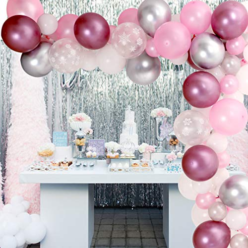 Snowflake Balloons Garland Decorations Arch Kit 90 Pack Balloons Pink and Sliver for Winter Wonderland, 1st Birthday, Snow Princess Theme Party, Holiday Decorations