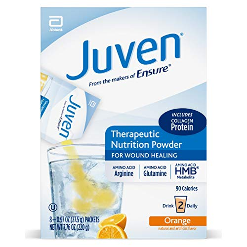 Juven Therapeutic Nutrition Drink Mix Powder for Wound Healing Includes Collagen Protein, Orange, 48 Count