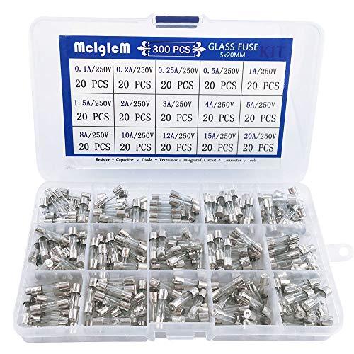 300 Pcs MCIGICM 5 x 20mm Fast-Blow Glass Fuse Assortment, 125V/ 250V 0.1A/ 0.25A/ 0.2A/ 0.5A/ 1A/ 1.5A/ 2A/ 3A/ 4A/ 5A/ 8A/ 10A/ 12A/ 15A/ 20A Tube Fuses, 15 Values