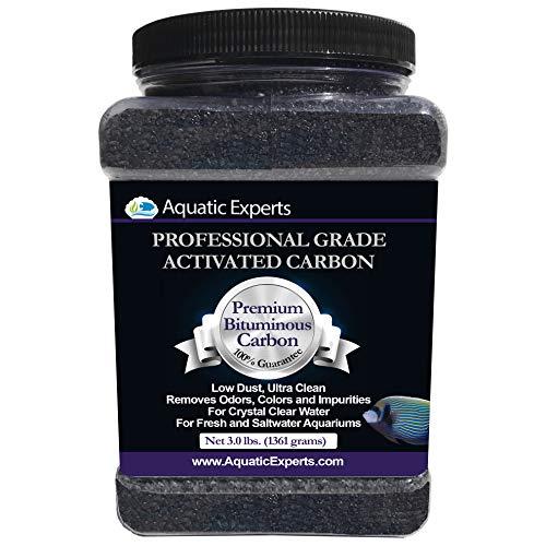 Aquatic Experts Premium Activated Carbon - Aquarium Filter Charcoal Media with Fine Mesh Bag - 3.0 lbs - Remove Odors and Discoloration with Bituminous Coal