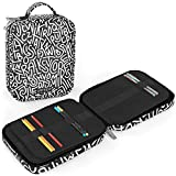 Arteza Artist Pencil Case Organizer, 64 Elastic Slots, Black & White Pattern, for Adults, Boys, Girls, Big Capacity, Holds Up to 205 Pencils, Suitable for Pens & Markers