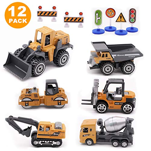 Childom Alloy Construction Engineering Vehicle Toys Set 12 Pack Stacker,Big Forklift,Heavy Duty Roller,Excavator,Heavy Transport Vehicle,Engineering Mixer Set for Kids Boys