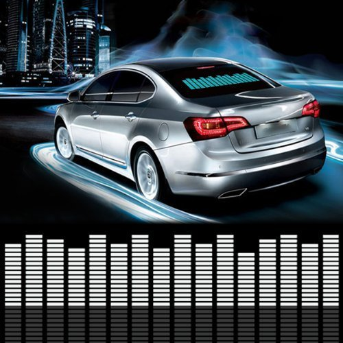 DIYAH Auto Sound Music Beat Activated Car Stickers Equalizer Glow LED Light Audio Voice Rhythm Lamp 70cm X 16cm / 27.5in X 6.3in (Blue)