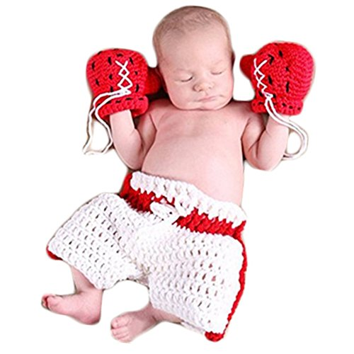 Newborn Monthly Baby Photo Props Boxing Hat Pants Sets for Boy Girls Photography Shoot (Red)