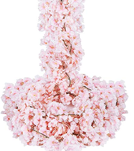 OCEANPAX 6 Pack Cherry Blossom Flowers Artificial Garland with Flowers Pink Hanging Vine for Home and Wedding Party