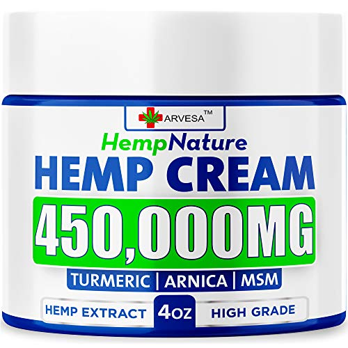 Hemp Pаіn Rеlief Cream - 450,000 - Made in USA - 4OZ - Rеlieves Muscle, Joint Pаіn - Lower Back Pаіn - Hemp Oil Extract with MSM - EMU Oil - Arnica | Turmeric
