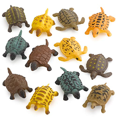 Kicko Small Turtle Baby Bath Toys - 12 Pieces of Assorted Plastic Tortoises - Ponds and Aquarium Decorations, Indoor and Outdoor Accents, Kids Pet Collection, Party Favors