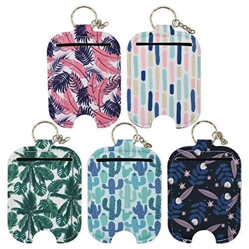 Hand Sanitizer Holder - 2OZ 60ML Travel Size Hand Sanitizer Leaves Keychain Sleeves Holder, Attaches Easily to Your Purse, Backpack, and Diaper Bag with Key Ring (2OZ/60ML, Plant 5)