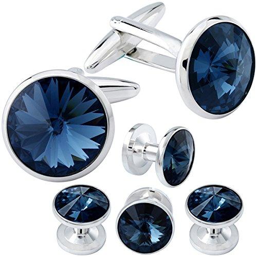 HAWSON Cufflink and Studs Tuxedo Set Silver Color with Swarovski Crystals in Dark Blue