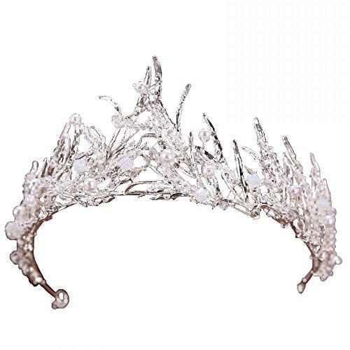 Miranda's Bridal Women's Bridal Tiaras Pageant Queen Crown Pearl Headbands for Shooting
