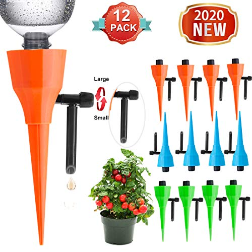 【2020 NEW】Plant Self Watering Devices, Watering Plants Auto Spikes, Vacation Watering Devices, Automatic Waterer for Potted, Garden Automatic Waterer Drip Devices for Plant-Constant Pressure (12Pack)