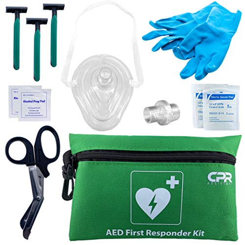 CPR Assistant AED Defibrillator Resuscitator Kit with 1 Way Valve, Gloves, Razor, Scissors, Gauze, Wipes, and Nylon Bag (Green)