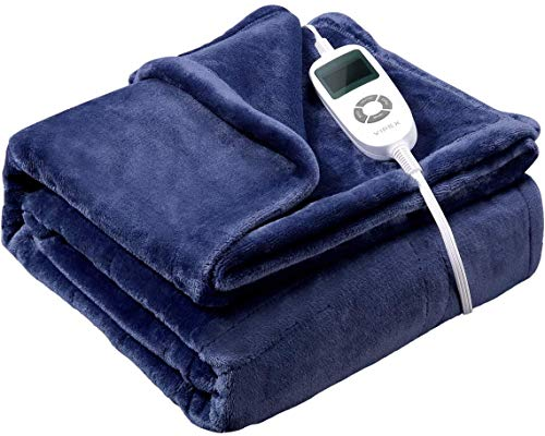 Vipex Heated Blanket, Flannel Electric Heated Blanket Throw with 10 Heating Levels & Auto-Off Timer Settings, ETL Certified & Full-Body Fast Heating, Machine Washable, 50' x 60',