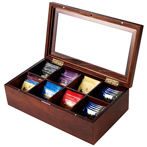 HBlife Acacia Wood Tea Box, Tea Bag Storage Chests with Transparent Acrylic Window 8 Compartments