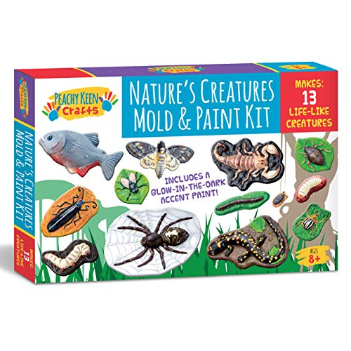 Peachy Keen Crafts Mould and Paint Your Own Creepy Crawlers Craft Set - Make Paintable Plaster Bug Figurines That Glow in The Dark