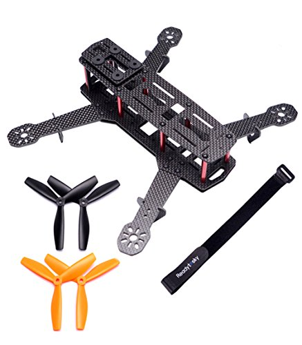 Readytosky 250mm FPV Racing Drone Frame Carbon Fiber Quadcopter Frame Kit with 4mm FPV Frame Arms and Lipo Battery Strap