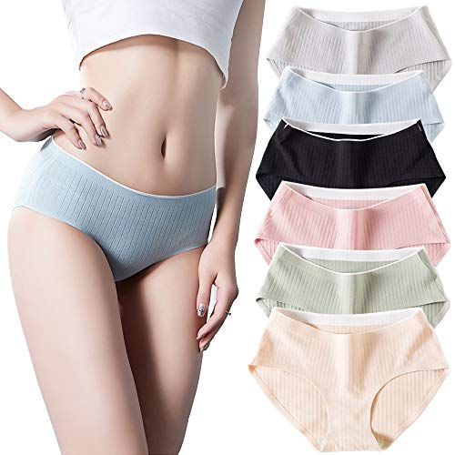 Womens Underwear Cotton Lingerie for Female Panty and Briefs Ladies Seamless Undies (M, 6 Colors)
