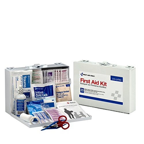 First Aid Only-8311 25 Person First Aid Kit, Metal Case, 106 Pieces - White