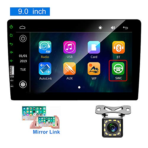 Hikity Bluetooth Car Stereo Double din 9 Inch Touch Screen Car FM Radio with USB/Bakcup Camera Input Supports Mirror Link for iOS/Android Phone + Backup Camera(No Android System, No GPS)