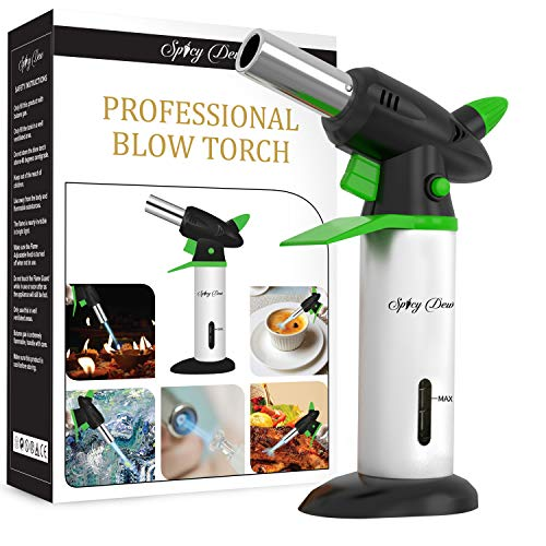 Spicy Dew Blow Torch - Creme Brulee Torch - Refillable Professional Chefs Culinary Kitchen Torch with Safety Lock and Adjustable Flame - Micro Butane Torch with Fuel Gauge - Cooking Food Torch